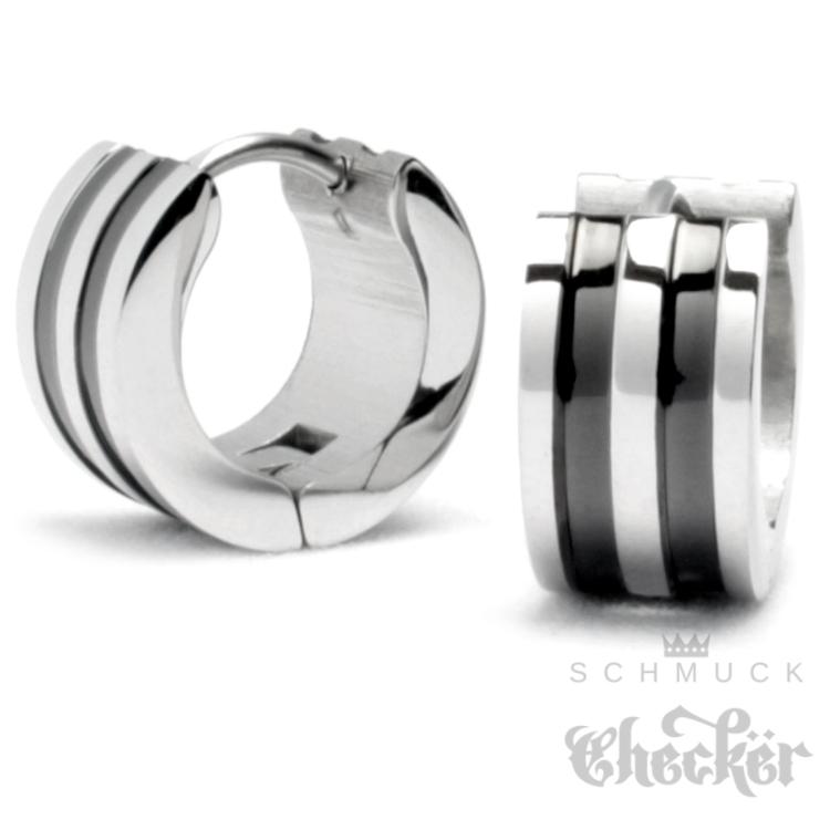 Schlichte Ohrringe aus Edelstahl für Männer. Silber mit schwarzen Streifen