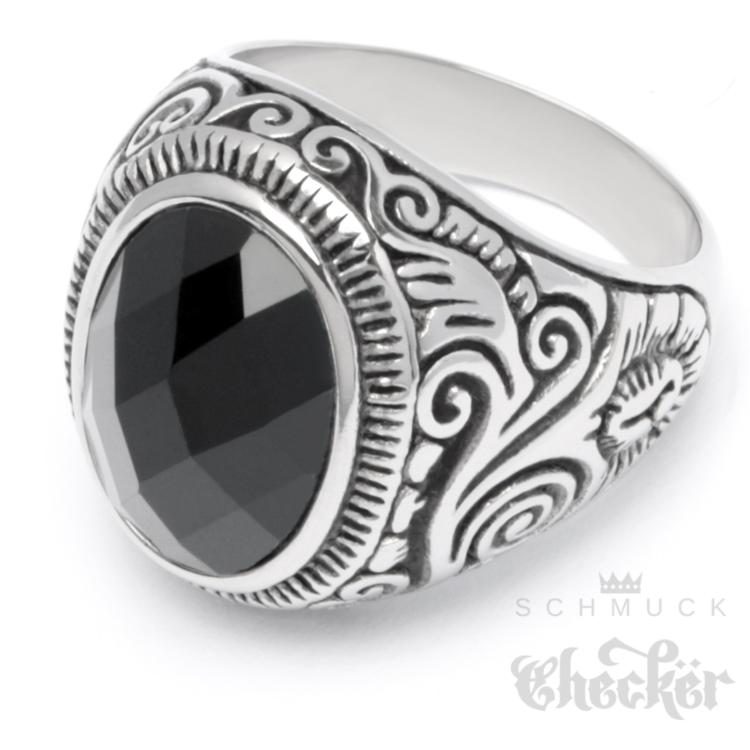 Details zu Edelstahl Herren Ring Onyx Stein Krallen Krone verziert silber schwarz Bikerring