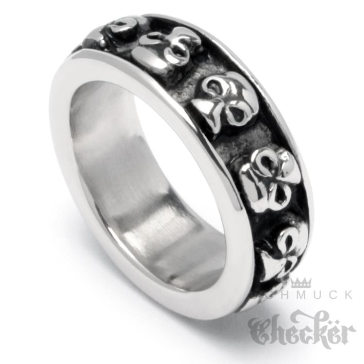Edelstahl Ring Bandring Herren Männer Onyx schwarz breit massiv Biker cooler